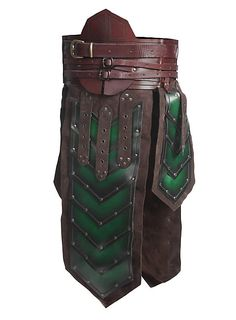Leather pieces of armor: medieval tassets, leather belts and
