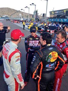 Smoke, Martin Truex Jr, Newman and Dale Jr talking before qualifying. http://www.pinterest.com/jr88rules/nascar-2014/ #NASCAR2014
