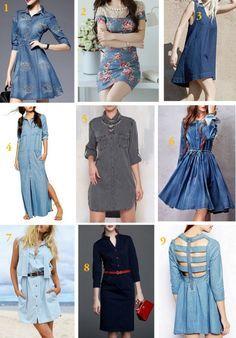 Vestido Jeans em diversos modelos, lavagens, acho o jeans muito versátil e com o passar do tempo vem conquistando mais espaço