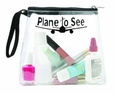 "Trendy Cool ""Plane to See"" Black TSA Compliant Clear Travel Size Toiletries Bottles Carry On Cosmetics Zippered Bag Case miamica. $9.49"