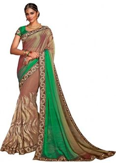 Festival Wear Brown & Green Crepe Chiffon Saree  - 5711