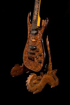 "Blueberry Handmade Carved Electric Guitar Stand ""Dark Dragon"" Motif 