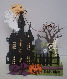 My Craft Spot: A Glimpse inside the Gallery - Halloween & Fall! Halloween Paper Crafts, Halloween Boo, Halloween Projects, Halloween Cards, Halloween Decorations, Halloween Havoc, Halloween Images, Vintage Halloween, Halloween Ideas