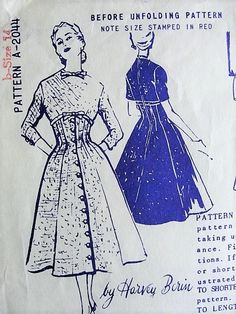 1950s CHIC Dress Pattern Harvey Berin SPADEA 2044 Corset Style Princess Seam Figure Flattering Day or Dinner Dress Bust 36 Vintage Sewing Pattern FACTORY FOLDED