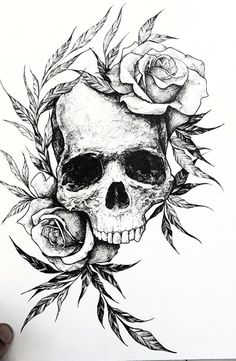 Art Drawings Sketches, Tattoo Sketches, Easy Drawings, Tattoo Drawings, Skull Tattoo Flowers, Skull Tattoos, Sleeve Tattoos, Skull And Rose Drawing, Rose Drawing Tattoo