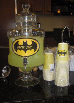 Batman party Joker Juice Sign with lemonade. Love it!