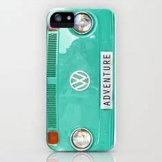 Adventure wolkswagen. Summer dreams. Green iPhone & iPod Case by Guido Montañés - $35.00