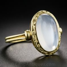 Vintage 18k Yellow Gold Moonstone Ring - 30-1-7086 - Lang Antiques
