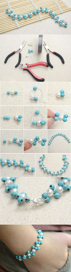 DIY Easy Handmade Beading Bracelet with Turquoise Beads and Pearl Beads #bracelet #beadedbracelet #pandahall  PandaHall Promotion: use coupon code MayPINEN10OFF for 10% off for your orders, valid time from May 18 to May 31.