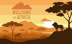 welcome to africa. sunset african landscape with wild animals
