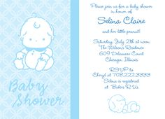 "Sitting Up Blue, Baby Shower Invitation. 6 3/4"" x 4 7/8""."