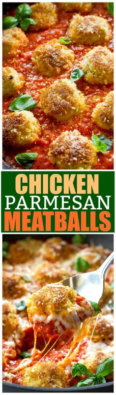 Chicken Parmesan Meatballs are an Italian dinner that are ready in a snap. Seasoned meatballs with Panko crumbs for that crunch you crave when you eat Chicken Parmesan. Serve over noodles with garlic bread and a salad for a delicious dinner. Turkey Recipes, Meat Recipes, Chicken Recipes, Dinner Recipes, Cooking Recipes, Healthy Recipes, Italian Dishes, Italian Recipes, Recipes