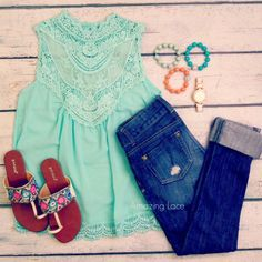 Style for over 35 ~ Lacy tank, jeans with the cuffs rolled up, baubles, gold watch and sandals. Cute!