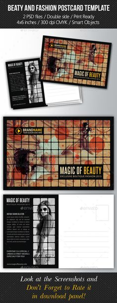Fashion and Beauty Postcard Template — Photoshop PSD #beautiful #flyer • Available here → https://graphicriver.net/item/fashion-and-beauty-postcard-template/9170900?ref=pxcr