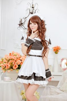 Black Sweet Short Sleeves Strapless French Maid Uniform - French Maid Costumes - Costumes
