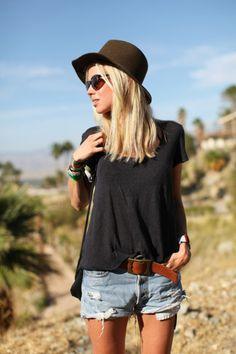 stylish hat, casual tee, denim shorts