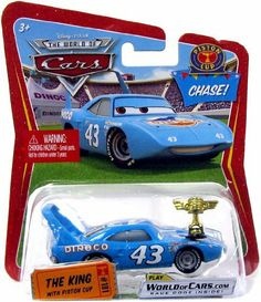 """Disney / Pixar CARS Movie 1:55 Die Cast Car Series 1 The King with Piston Cup Trophy Chase Piece! by Mattel. $25.00. For Ages 3 & Up. Disney Pixar Cars Collection 1:55 scale Chase variant die cast car from Mattel. Disney Pixar Cars 1:55 Scale Die-Cast Chase The King with Piston Cup      Measures approx. 3.5""""L   Ages 3 +   NOTE: Packaging may vary    We reserve the right to limit the number of this item purchased in any single order"""