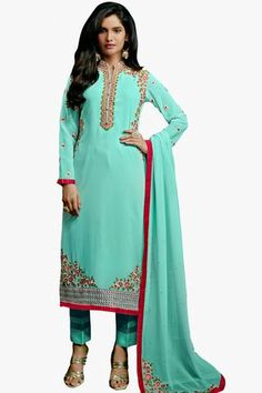 Sky Blue Colored Classy Designer Embroidered Straight Cut In Faux Georgette