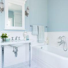 Creative Small Attic Bathroom Design Ideas Suitable Space Saving – Decorating Ideas - Home Decor Ideas and Tips Blue Bathroom Paint, Bathroom Colors, Bathroom Ideas, Light Blue Bathrooms, Aqua Bathroom Decor, Bright Bathrooms, Shower Ideas, Brown Bathroom, Bathroom Modern