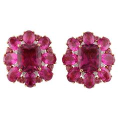 Pink Tourmaline and Diamond Earrings | 1stdibs.com