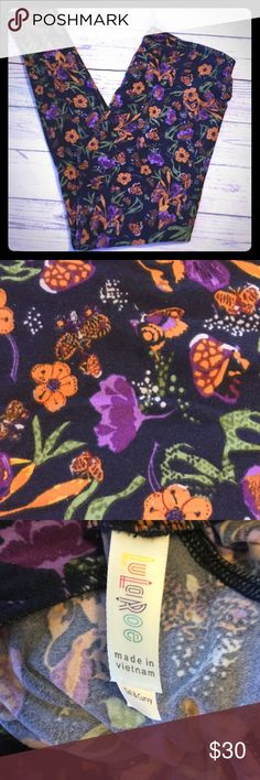 💜Butterfly flower print on distressed black NWT 💗Please check size chart. 🇺🇸Single Item is as pictured accessories not included.  🇺🇸See sizing chart for details.  🇺🇸I only trade for C🤑SH 🇺🇸Bundle two or more items to save on shipping!  ❤️Colors may vary based on lighting such as darker or lighter.  😉Thank you for the likes, shares and kindness! 😘 LuLaRoe Pants Leggings