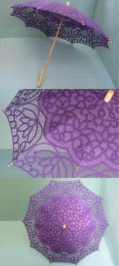Dark Purple Hand Belgian lace parasol wedding USU214DP