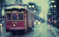 New Orleans streetcar decorated for Christmas.