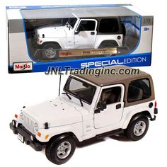 "Maisto Special Edition Series 1:18 Scale Die Cast Car - White Sports Utility Vehicle JEEP WRANGLER SAHARA (SUV Dimension: 8"" x 3-1/2"" x 3-1/2"")"