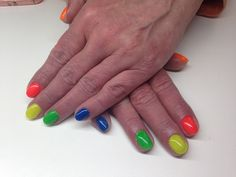 Colorful nails with neon pigment powder