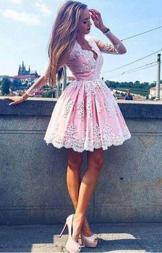 pink long sleeves homecoming dress, 2017 short pink homecoming dress, pink lace short homecoming dress party dress dancing dress,461 - Thumbnail 2