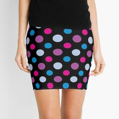 Purple, pink & blue hipster polka dot patterned pencil skirt.