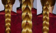 Простая Коса с помощью резинок.Причёска для средних, длинных волос.Плете...