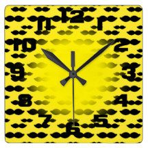 Yellow and Black Mustache Square Wall Clock