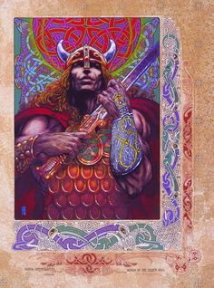 "Fantasy Art Print Nuada Silverarm 23x16"". Ireland, Irish, Celtic, Warrior, Sword, Hero, Fine Art Print, Celtic design."