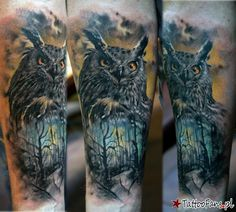 sowa las Tattoo By Domantas Parvainis