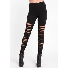 Shredded Black Leggings Love Culture (€12) ❤ liked on Polyvore featuring pants, leggings, bottoms, jeans, sheer pants, cutout leggings, transparent leggings, black trousers and black pants