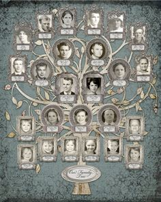 Family Tree - Custom with 25 Photos - Blue Grey Background