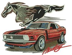 Mustang car embroidery design from Cars collection. Machine Embroidery Quilts, Border Embroidery, Machine Embroidery Designs, Embroidery Ideas, Bentley Continental Gt, Jaguar, Chevy, Cat Quilt, Mustang Cars