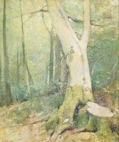 """""""Woodland Interior,"""" Emil Carlsen, oil on canvas, 18 x 15"""", private collection."""