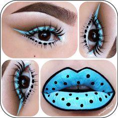 "•Polka Dots• Lips - @feyoshecosmetics ""Bella Blue"" Liquid Lipstick. NYX Black Pencil Liner, Black Gel Liner, & Black Liquid Liner. Eyes - @limecrimemakeup ""Blue Milk"" UniLiner. NYX ""Milk"" Jumbo Pencil & Black Liquid Liner, Urban Decay Naked Basics Palette, & MAC ""Gesso"" Eyeshadow. Glow in the dark Fright Night Lashes. I used @Amanda Snelson @ Black Rabbit Studio brushes - @Christina Childress Parga- #webstagram"