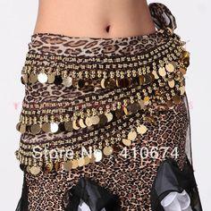 Frete Grátis dança do ventre dança chiffon leopardo impressão de lantejoulas 248 moedas de ouro hip cachecol cinto envoltório traje desgaste...