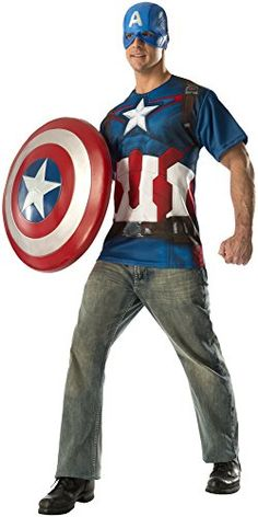 Marvel Rubies Costume CO Mens Avengers 2 Age Of Ultron Adult Captain America TShirt and Mask Multi XLarge -- Amazon most trusted e-retailer #MarvelCostumes