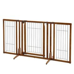Richell's Premium Plus Freestanding Pet Gate with Door fits doorway and hallway openings from 34 to 63 inches wide! Plus, the specially designed walk-thru door opens in both directions and includes an upper/lower locking system to allow free movement and extra security! But the best bonus yet is the specially designed Side Panels adjust in increments of 10 degrees to allow you more options for use in your home! Simply adjust the gate to fit your personal needs! Last but not least, eco-fr...