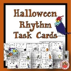 HALLOWEEN Rhythm Task Cards  Included in this product is... ♫ 24 Task Cards  ♫ Student Record Sheet  ♫ Answer Key  These task cards will challenge students on their recognition and knowledge of rhythms and their ability to match a rhythm to a given phrase
