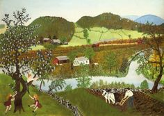 Hoosick River, Summer  (1952), Anna Mary Robertson Moses, #art #outsider