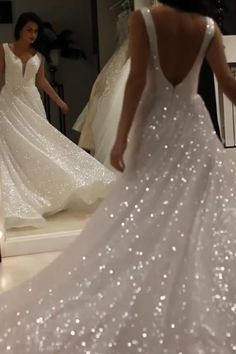 Sparkly Bridal Gowns V Neck Backless Wedding Dresses with Sequins Sparkly Wedding Dresses V-Neck Backless Wedding Dresses with Sequins Beach Bridal Dresses, Wedding Dresses With Straps, Colored Wedding Dresses, Best Wedding Dresses, Bridal Outfits, Bridal Gowns, Sparkly Wedding Dresses, Wedding Dress Sparkle, Sparkly Gown