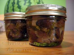 Conserves de champignons à l'huile