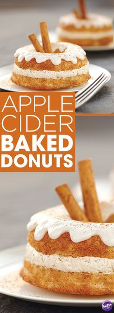 Apple Cider Baked Donuts Recipe - Nothing says Fall more deliciously than apples! On your way to the orchard, let everyone gobble down these yummy apple cider baked doughnuts! Bake them using the Wilton Doughnut Pan and our easy recipe, including cider glaze and maple topping.