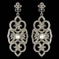 Dazzling Art Deco Rhinestone Drop Wedding and Quince Earrings - Affordable Elegance Bridal -