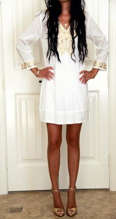 White linen and gold...gorgeous